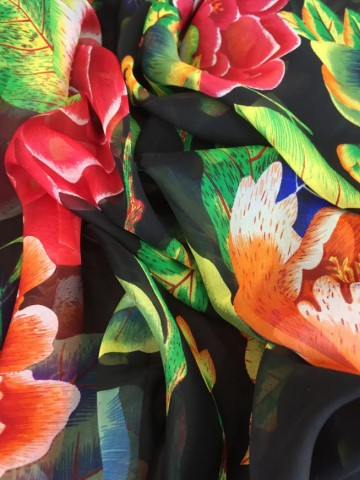 ladies printed silk chiffon wrap product name Bird of Paradise