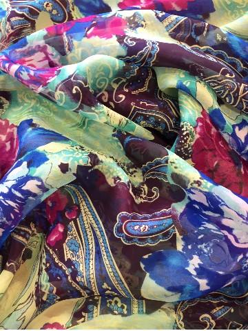 printed silk chiffon wraps for sale at Roisin Cross Silks Dublin