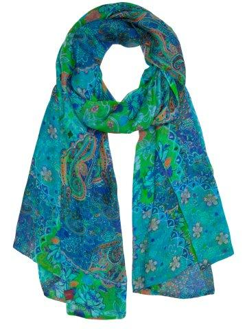 printed silk chiffon wraps product name Algiers Blue Sold Out