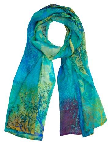 printed silk chiffon wraps product name Aquarious Sold Out