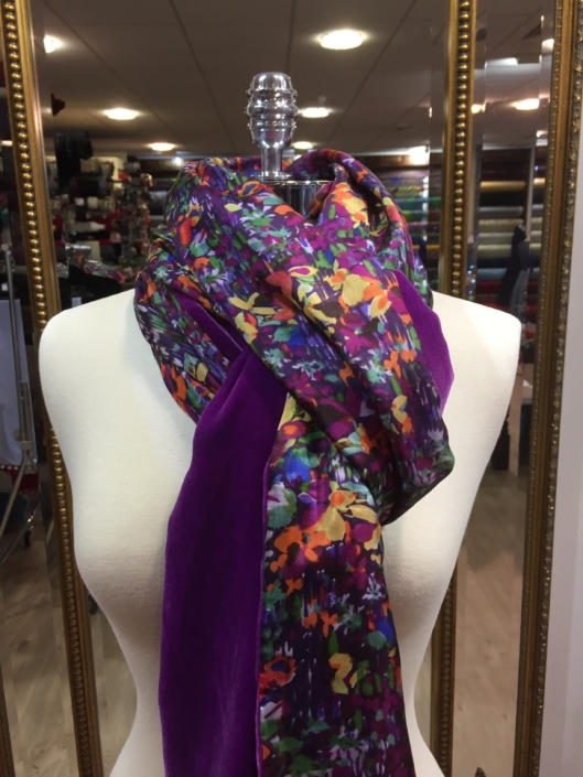 silk velvet and printed silk scarves