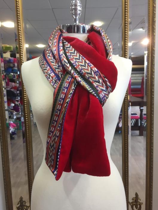 Roisin Cross Silks Dublin ladies silk velvet and printed silk scarf product code SVP -09