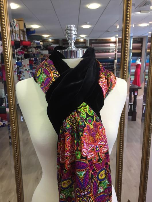 Roisin Cross Silks Dublin ladies silk velvet and printed silk scarf product code SVP -14