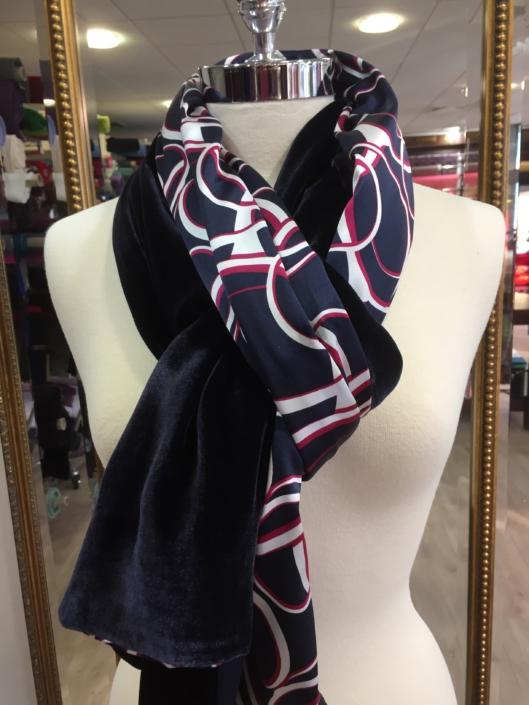 Roisin Cross Silks Dublin ladies silk velvet and printed silk scarf product code SVP -13