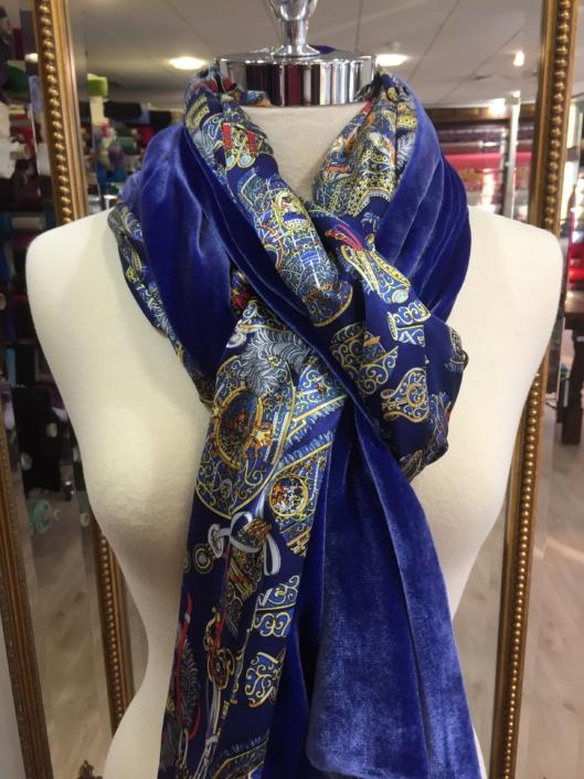 Roisin Cross Silks Dublin ladies silk velvet and printed silk scarf product code SVP -12