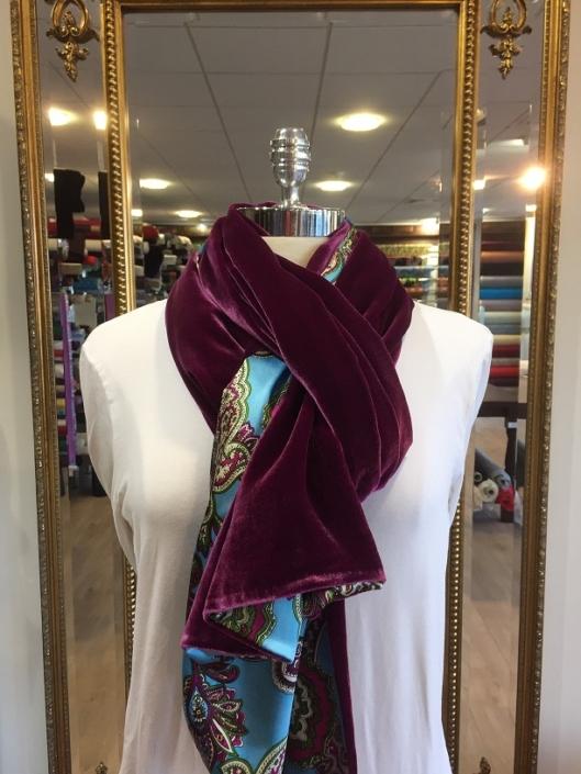 Roisin Cross Silks Dublin ladies silk velvet and printed silk scarf product code SVP -15