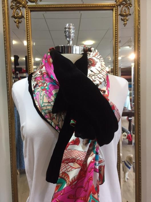 Roisin Cross Silks Dublin ladies silk velvet and printed silk scarf product code SVP -18