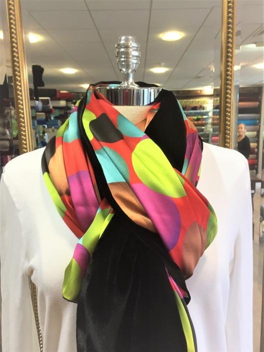 Roisin Cross Silks Dublin ladies silk velvet and printed silk scarf product code SVP -19