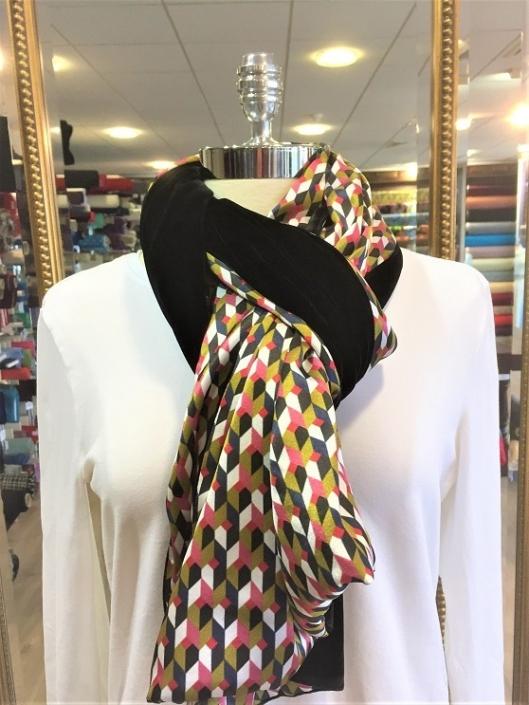 Roisin Cross Silks Dublin ladies silk velvet and printed silk scarf product code SVP -20
