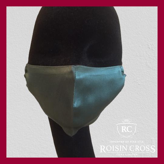 Roisin Cross Silks Dublin plain silk barrier masks product name Forest Green