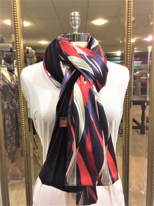 Roisin Cross Silks Dublin ladies silk velvet and printed silk scarf product code SVP -22