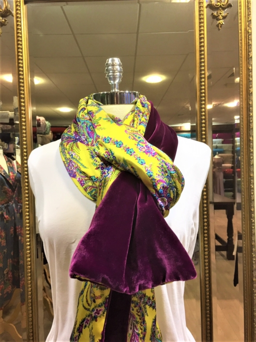 Roisin Cross Silks Dublin ladies silk velvet and printed silk scarf product code SVP -24