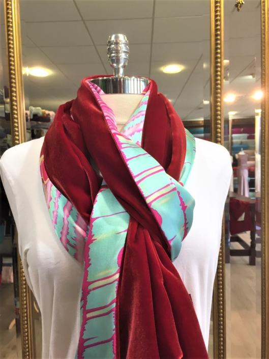 Roisin Cross Silks Dublin ladies silk velvet and printed silk scarf product code SVP -25