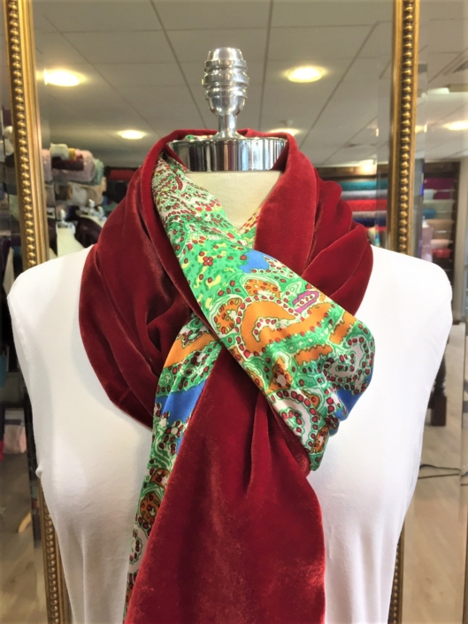 Roisin Cross Silks Dublin ladies silk velvet and printed silk scarf product code SVP -26