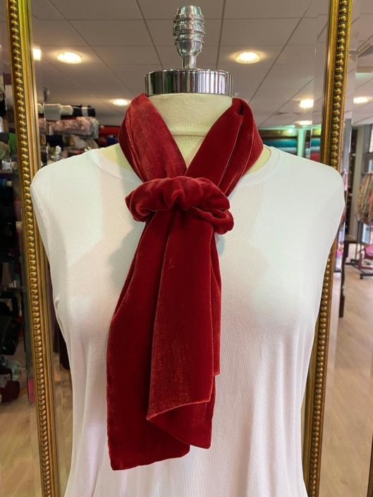 Red silk velvet scarf and scrunchie
