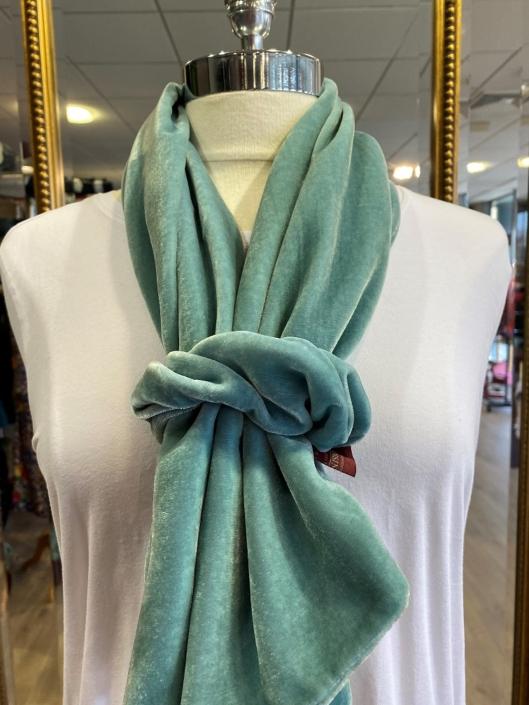 Seagreen silk velvet scarf and scrunchie