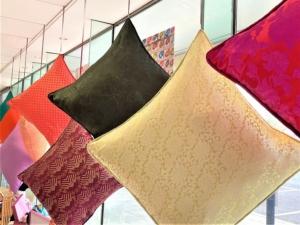 selection of Green silk brocade cushion covers at Roisin Cross Silks Dublin