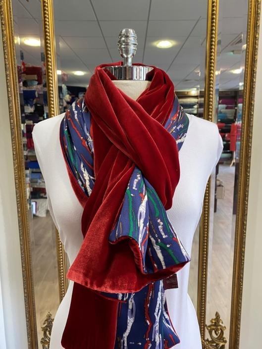 Roisin Cross Silks Dublin velvet and printed silk scarves product code SVP -29