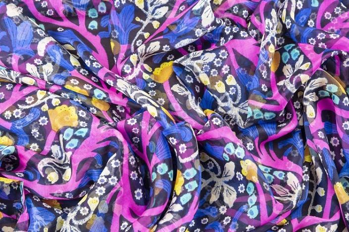 ladies printed silk chiffon wrap product name Parachute Purple