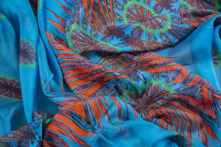 ladies printed silk chiffon wrap product name Stargazer