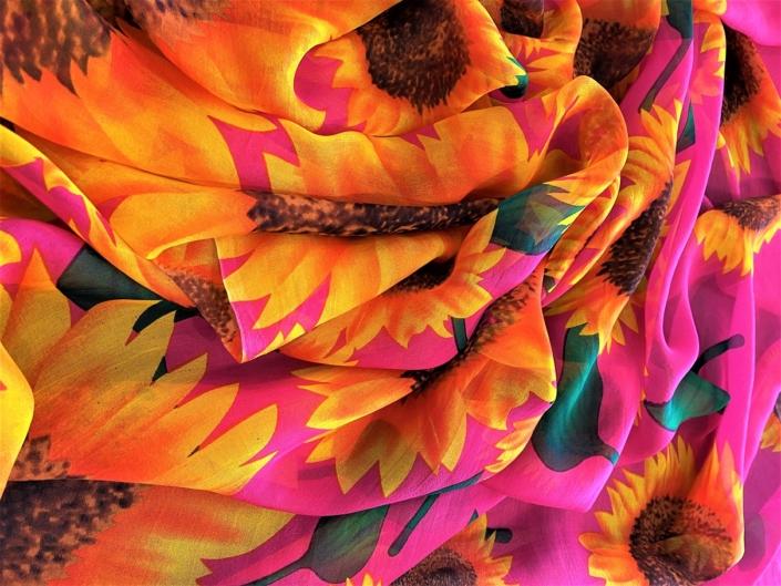 ladies printed silk chiffon wrap product name Sunflower