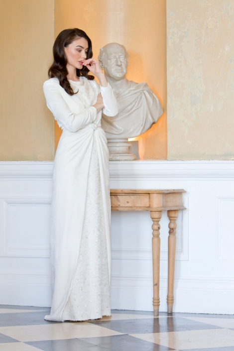 Ivory Silk Velvet Coat with Silk Bridal Gown Size 8-10 €750