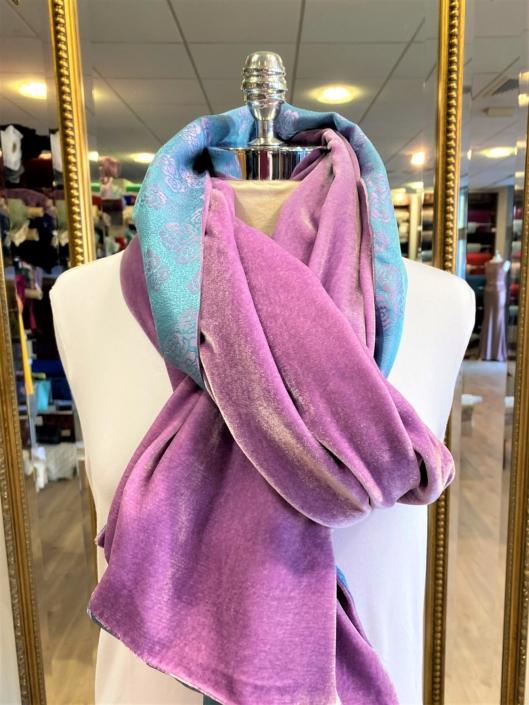 Roisin Cross Silks Dublin velvet and printed silk scarves product code SVP-39